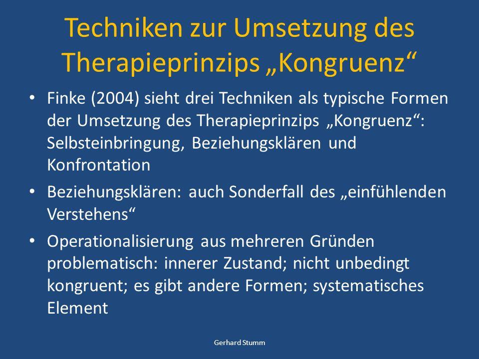 """Techniken zur Umsetzung des Therapieprinzips """"Kongruenz"""