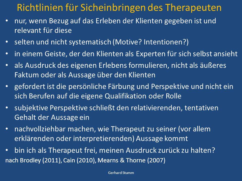 Richtlinien für Sicheinbringen des Therapeuten
