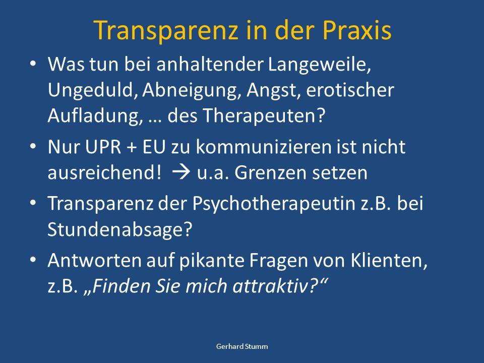 Transparenz in der Praxis