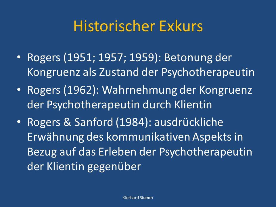 Historischer Exkurs Rogers (1951; 1957; 1959): Betonung der Kongruenz als Zustand der Psychotherapeutin.