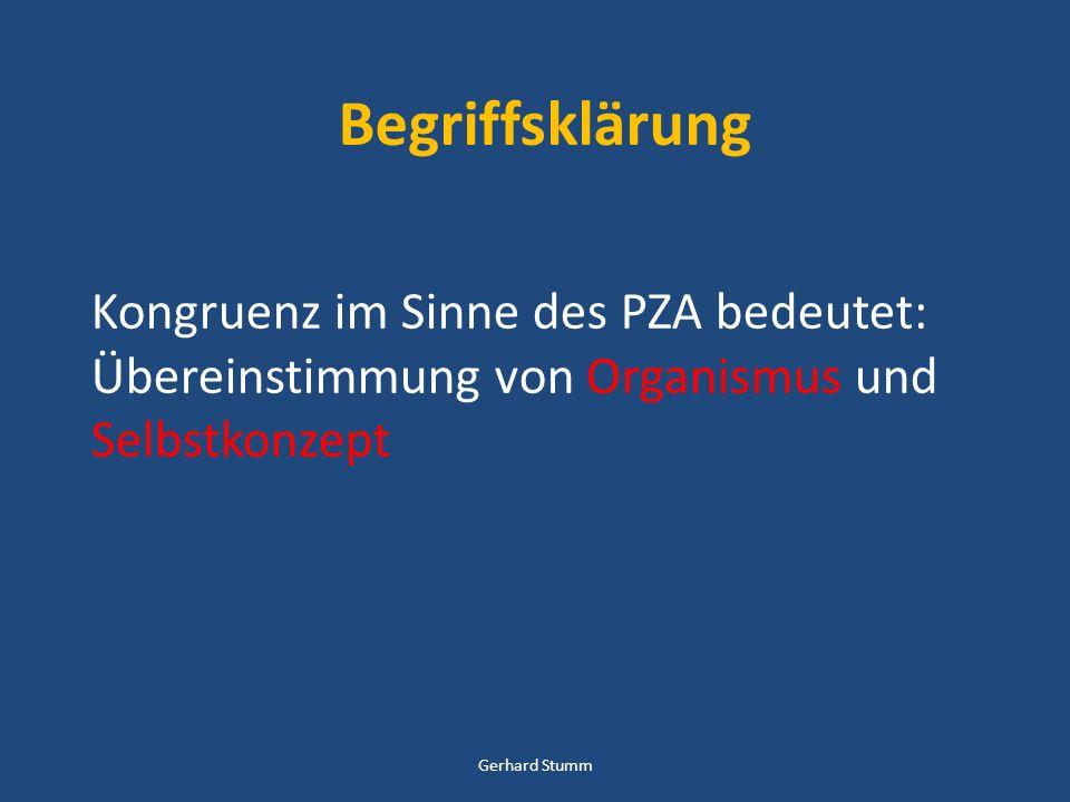 Begriffsklärung Kongruenz im Sinne des PZA bedeutet: Übereinstimmung von Organismus und Selbstkonzept.