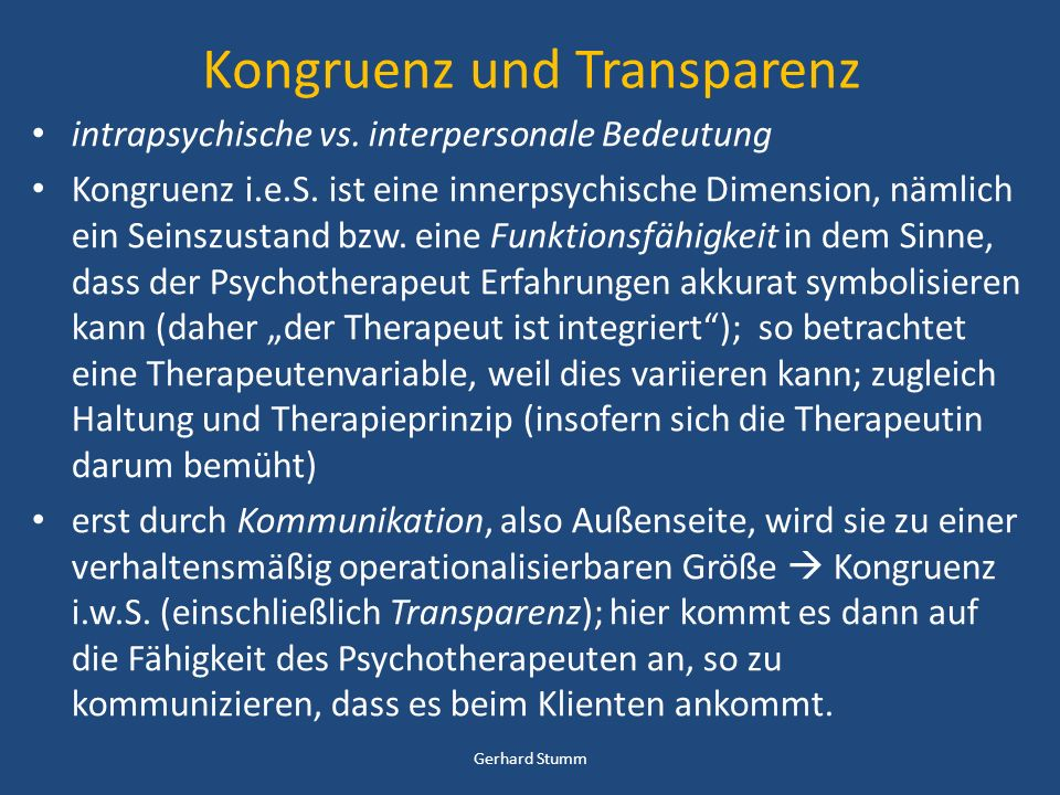 Kongruenz und Transparenz
