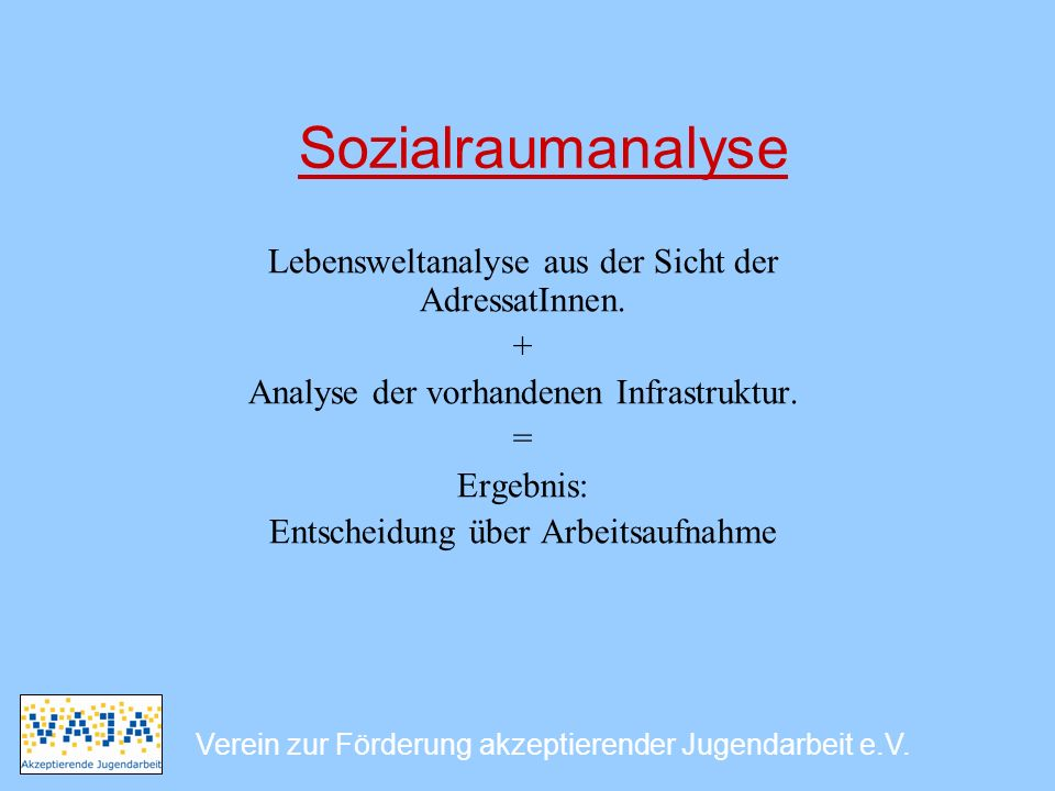Sozialraumanalyse Lebensweltanalyse aus der Sicht der AdressatInnen. +