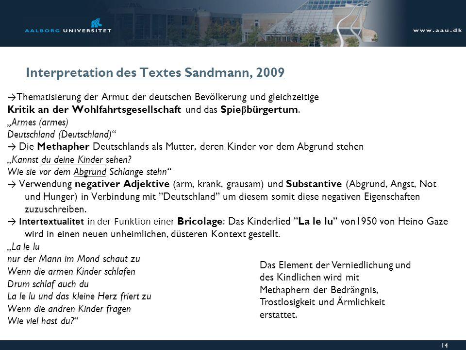Interpretation des Textes Sandmann, 2009