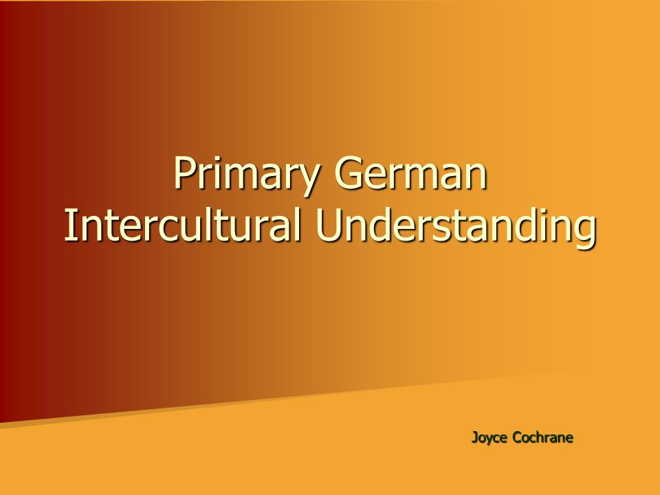 Primary German Intercultural Understanding