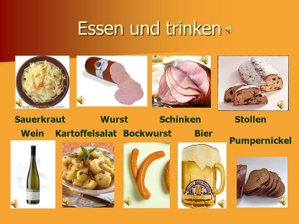 Essen und trinken Sauerkraut Wurst Schinken Stollen Wein