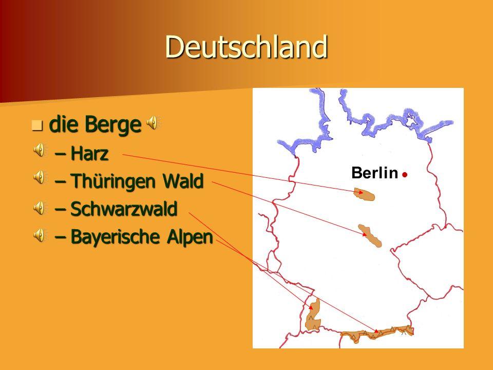 Deutschland die Berge Harz Thüringen Wald Schwarzwald Bayerische Alpen