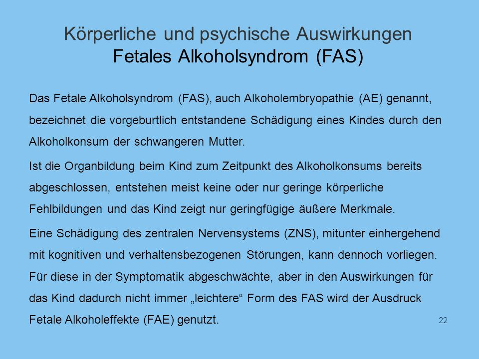 Körperliche und psychische Auswirkungen Fetales Alkoholsyndrom (FAS)