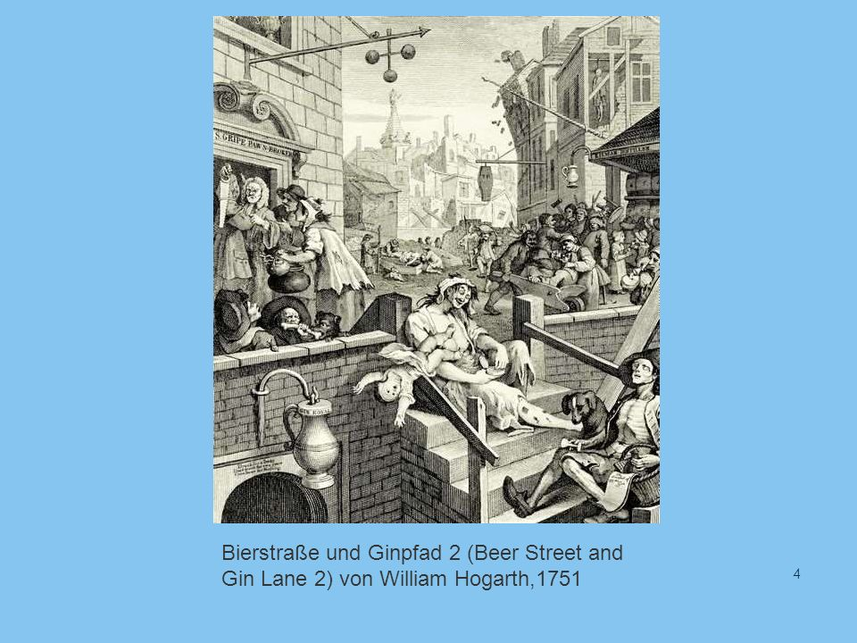 Bierstraße und Ginpfad 2 (Beer Street and Gin Lane 2) von William Hogarth,1751