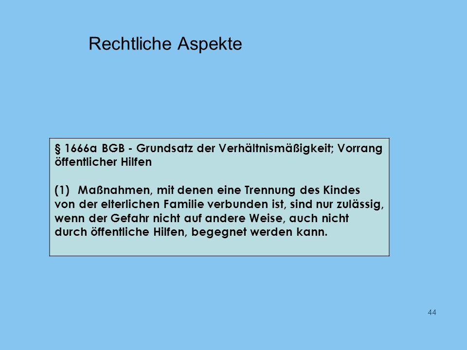 Rechtliche Aspekte § 1666a BGB - Grundsatz der Verhältnismäßigkeit; Vorrang öffentlicher Hilfen.