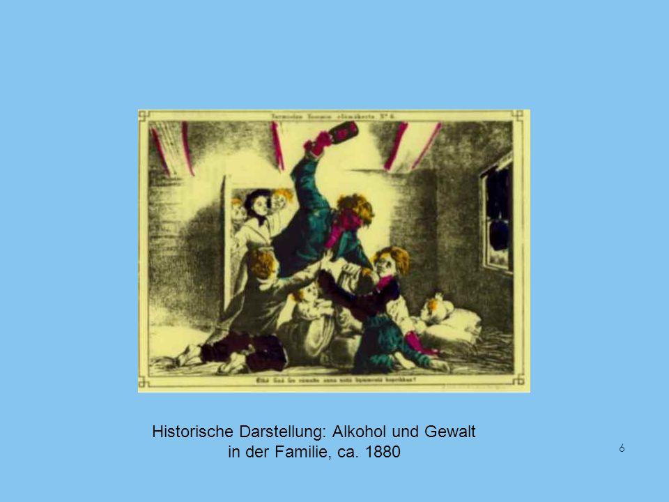 Historische Darstellung: Alkohol und Gewalt in der Familie, ca. 1880