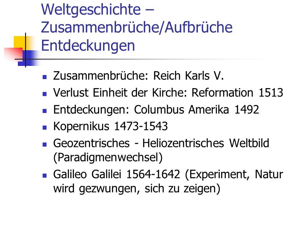 Weltgeschichte – Zusammenbrüche/Aufbrüche Entdeckungen