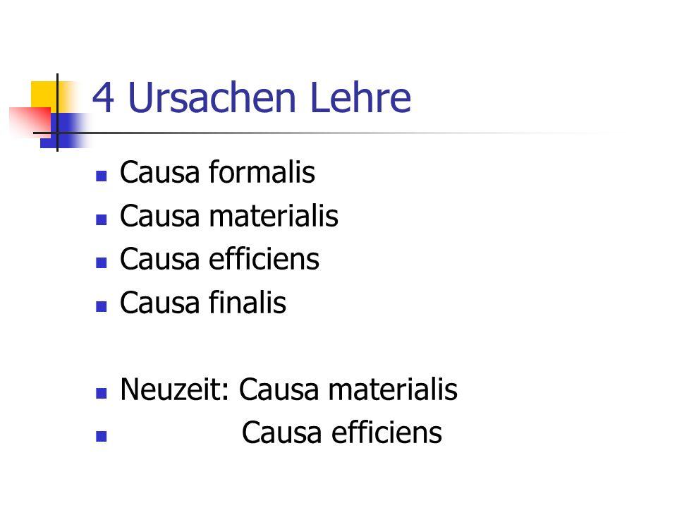 4 Ursachen Lehre Causa formalis Causa materialis Causa efficiens