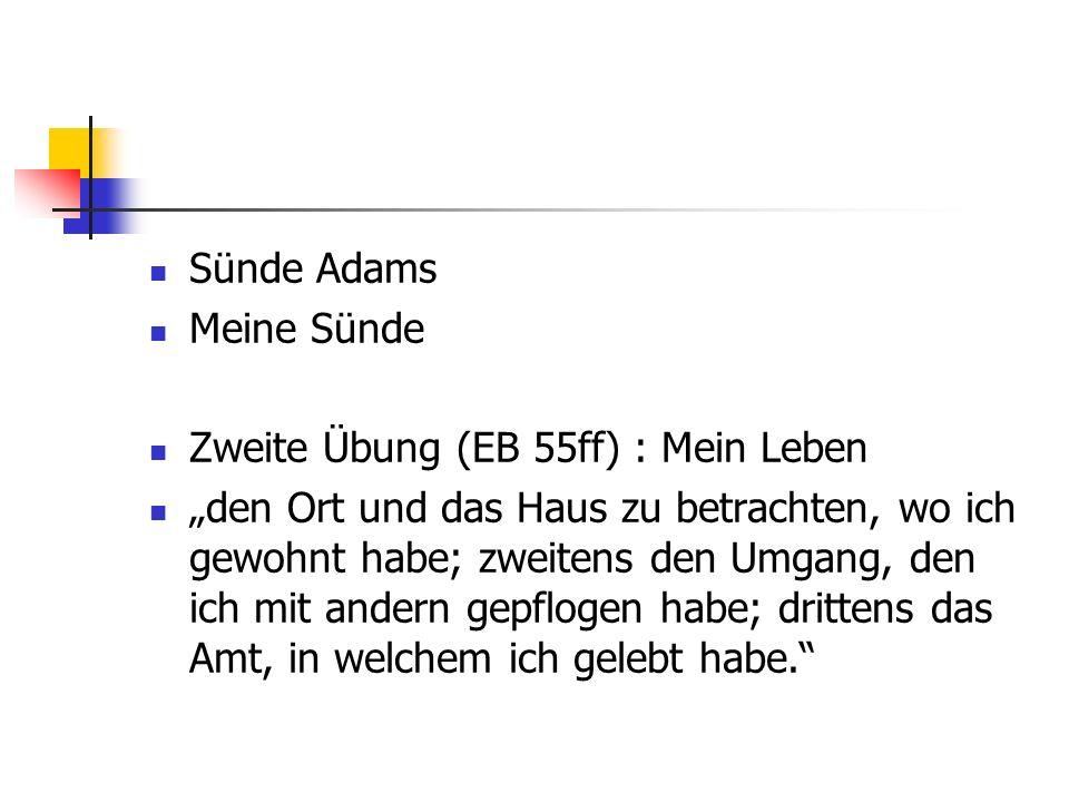 Sünde Adams Meine Sünde. Zweite Übung (EB 55ff) : Mein Leben.