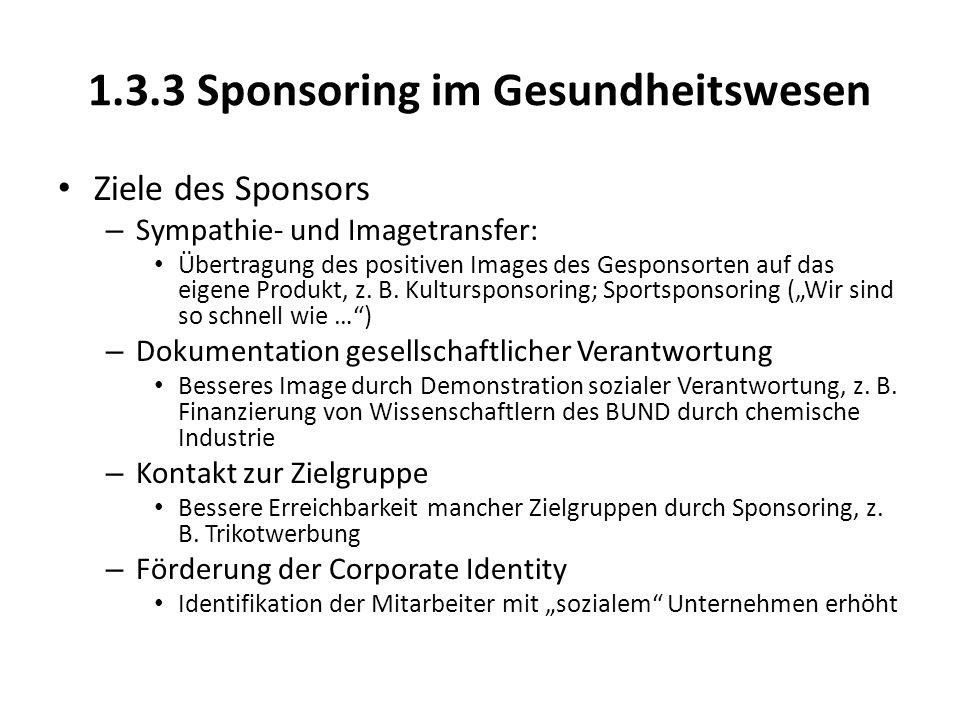 1.3.3 Sponsoring im Gesundheitswesen
