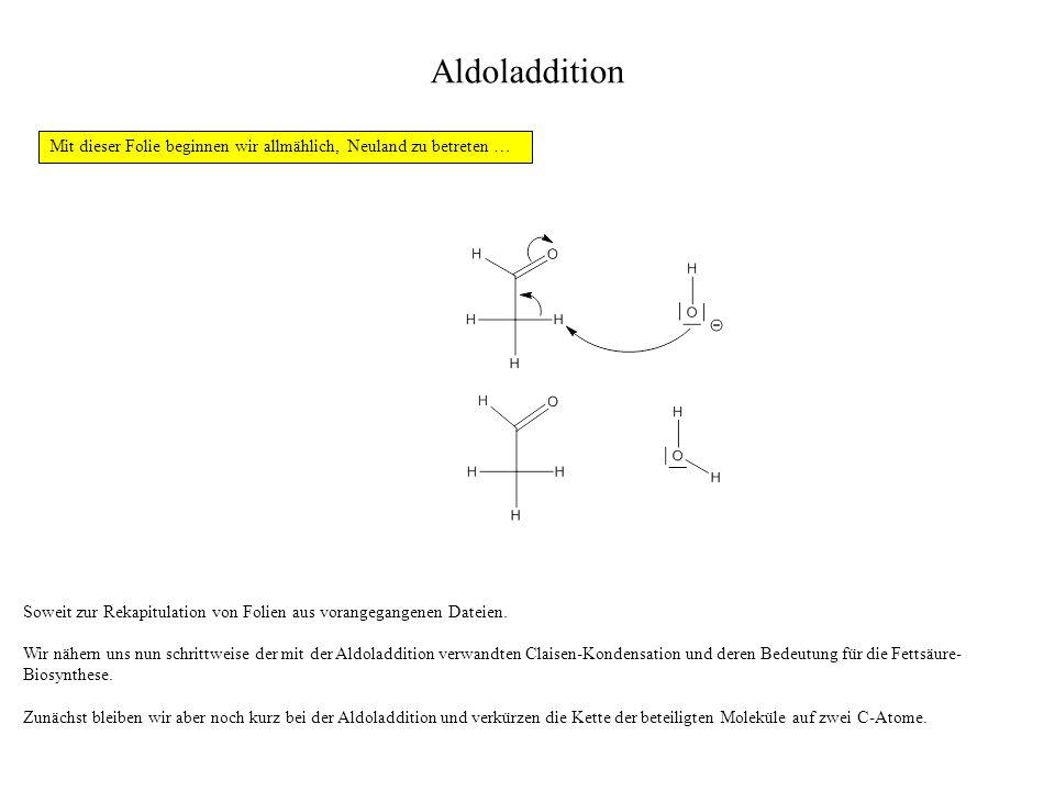Aldoladdition Mit dieser Folie beginnen wir allmählich, Neuland zu betreten … Soweit zur Rekapitulation von Folien aus vorangegangenen Dateien.