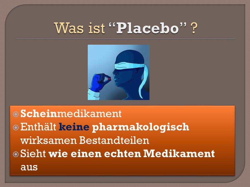 Was ist Placebo Scheinmedikament