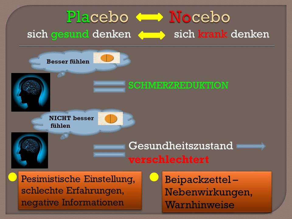 Placebo Nocebo Gesundheitszustand verschlechtert