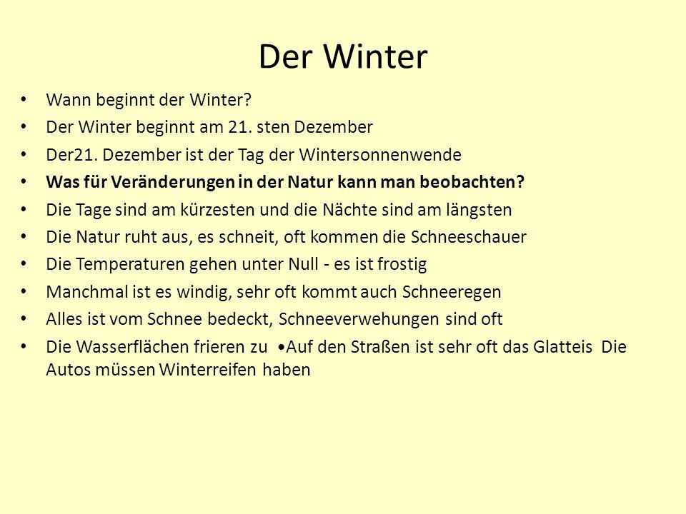 Der Winter Wann beginnt der Winter