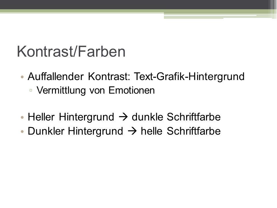 Kontrast/Farben Auffallender Kontrast: Text-Grafik-Hintergrund