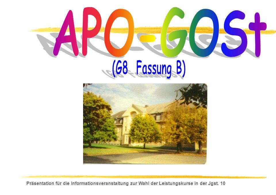 APO-GOSt (G8 Fassung B) Präsentation für die Informationsveranstaltung zur Wahl der Leistungskurse in der Jgst.