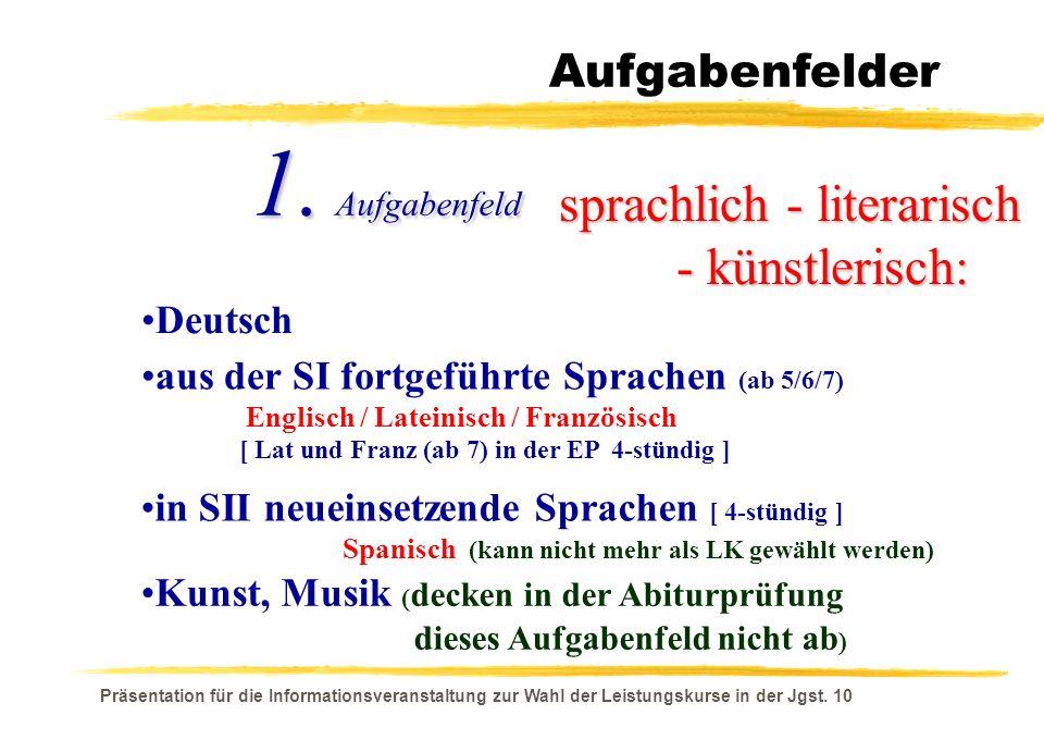 1. Aufgabenfeld sprachlich - literarisch - künstlerisch: