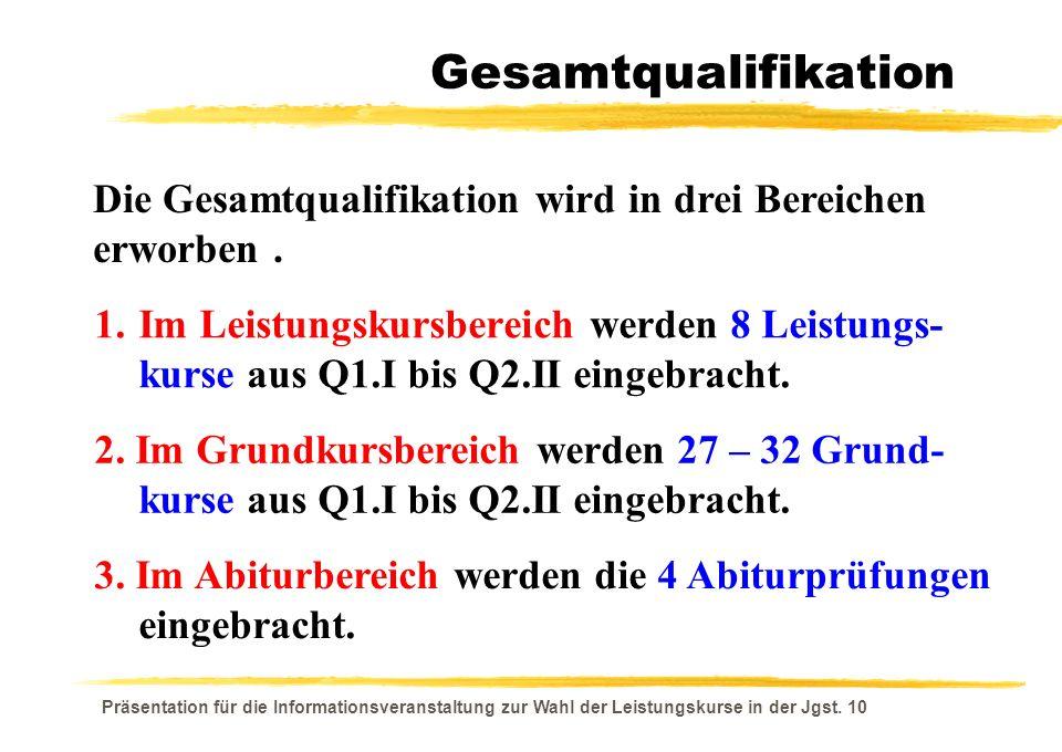 Gesamtqualifikation Die Gesamtqualifikation wird in drei Bereichen erworben .