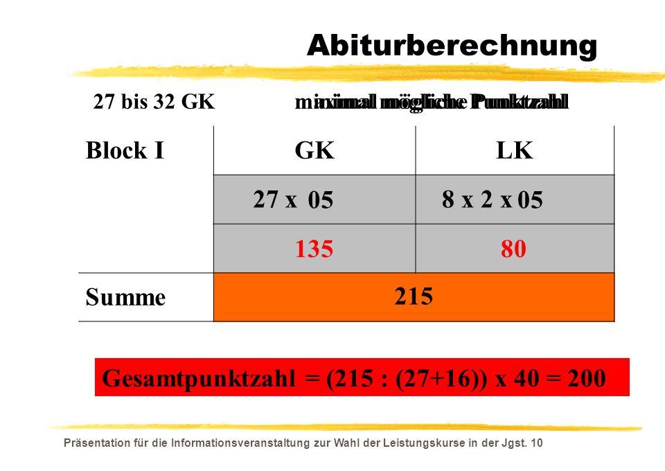 Abiturberechnung Block I GK LK 27 x 8 x 2 x Summe 15 405 240 645 05