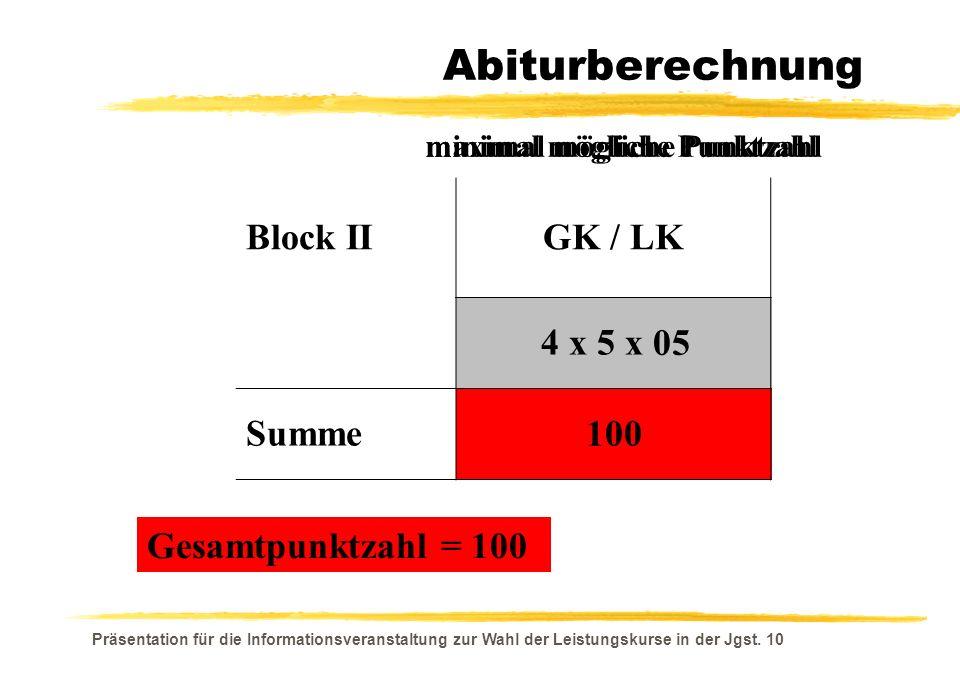 Abiturberechnung Block II GK / LK 4 x 5 x Summe 05 100 15 300