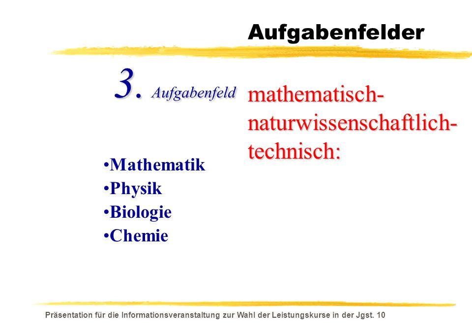 3. Aufgabenfeld mathematisch- naturwissenschaftlich- technisch: