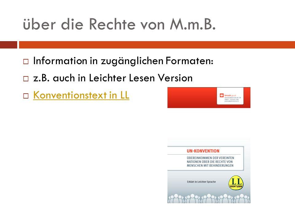 über die Rechte von M.m.B. Information in zugänglichen Formaten: