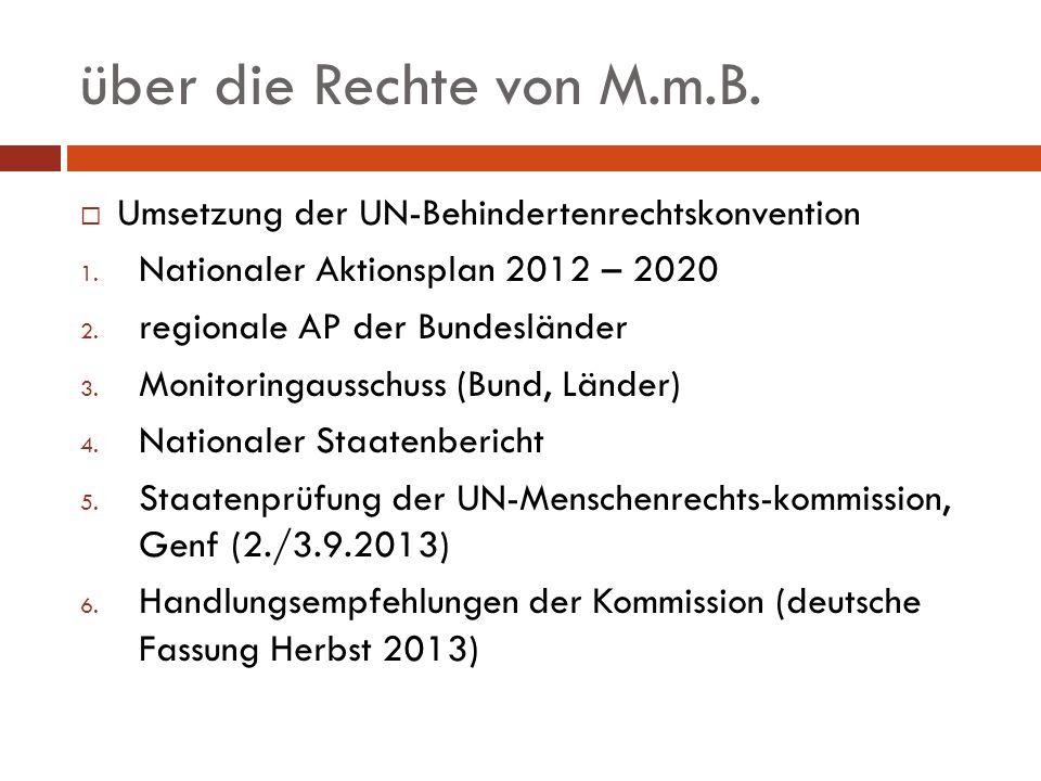 über die Rechte von M.m.B. Umsetzung der UN-Behindertenrechtskonvention. Nationaler Aktionsplan 2012 – 2020.