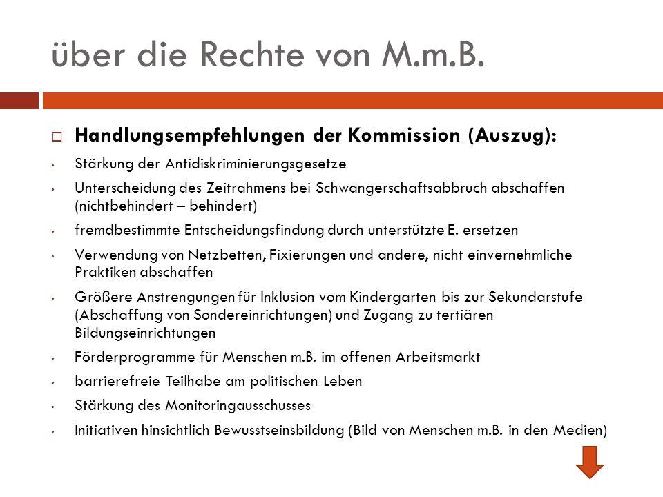 über die Rechte von M.m.B. Handlungsempfehlungen der Kommission (Auszug): Stärkung der Antidiskriminierungsgesetze.