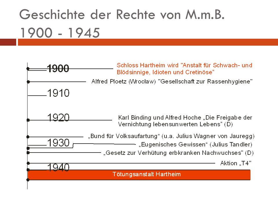 Geschichte der Rechte von M.m.B. 1900 - 1945
