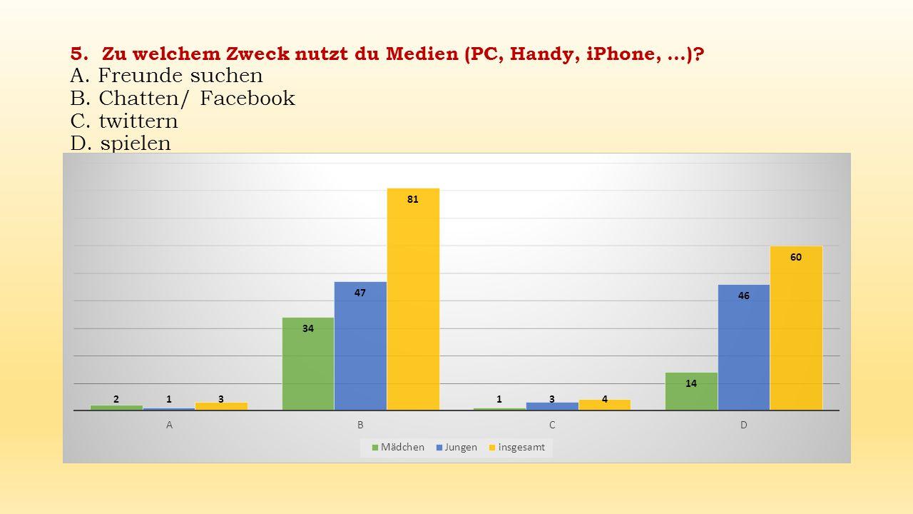5. Zu welchem Zweck nutzt du Medien (PC, Handy, iPhone,. ). A