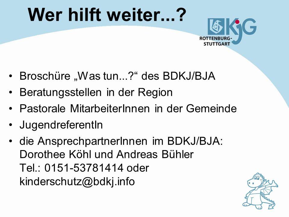 """Wer hilft weiter... Broschüre """"Was tun... des BDKJ/BJA"""