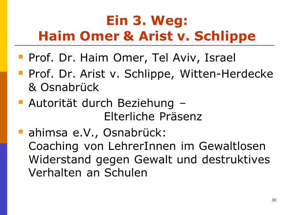 Ein 3. Weg: Haim Omer & Arist v. Schlippe