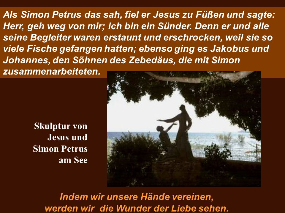 Skulptur von Jesus und Simon Petrus am See