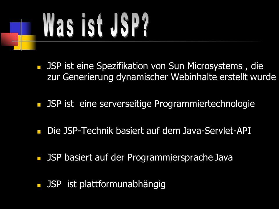 Was ist JSP JSP ist eine Spezifikation von Sun Microsystems , die zur Generierung dynamischer Webinhalte erstellt wurde.