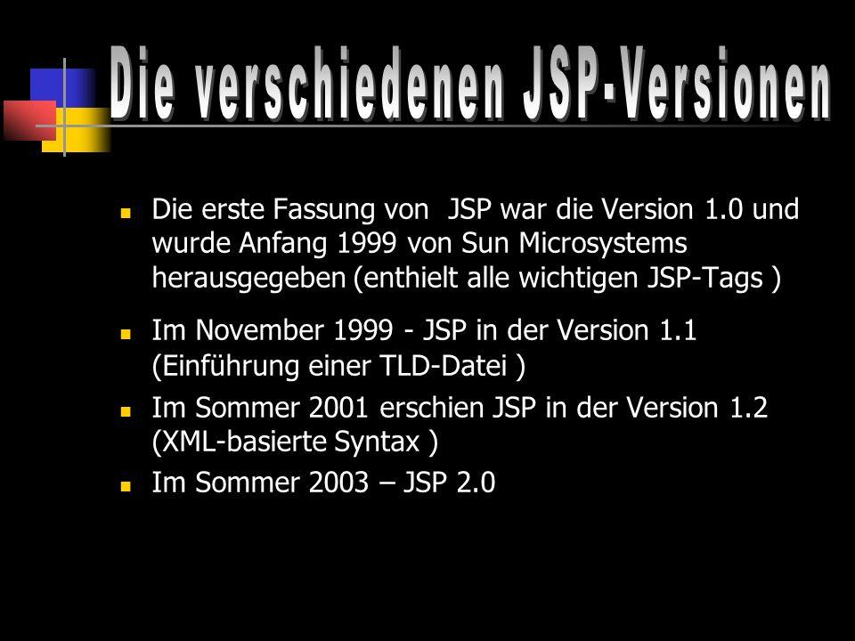 Die verschiedenen JSP-Versionen