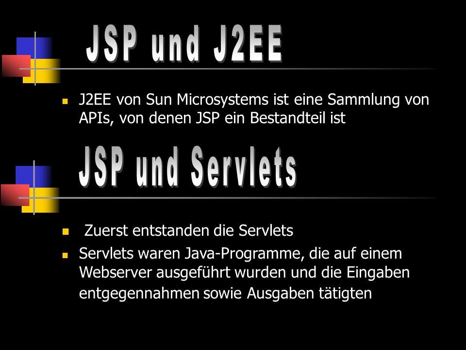 JSP und J2EE JSP und Servlets Zuerst entstanden die Servlets