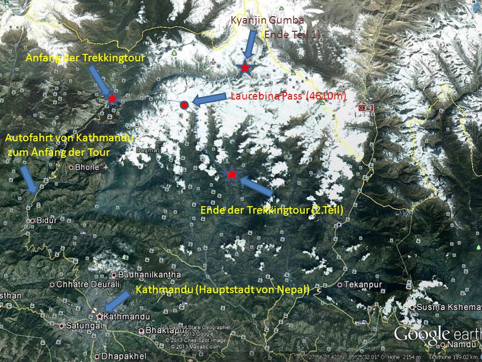 Kyanjin Gumba (Ende Teil 1) Anfang der Trekkingtour. Laurebina Pass (4610m) Autofahrt von Kathmandu.