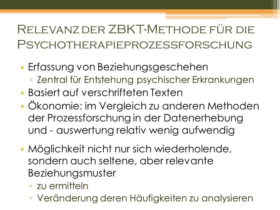 Relevanz der ZBKT-Methode für die Psychotherapieprozessforschung