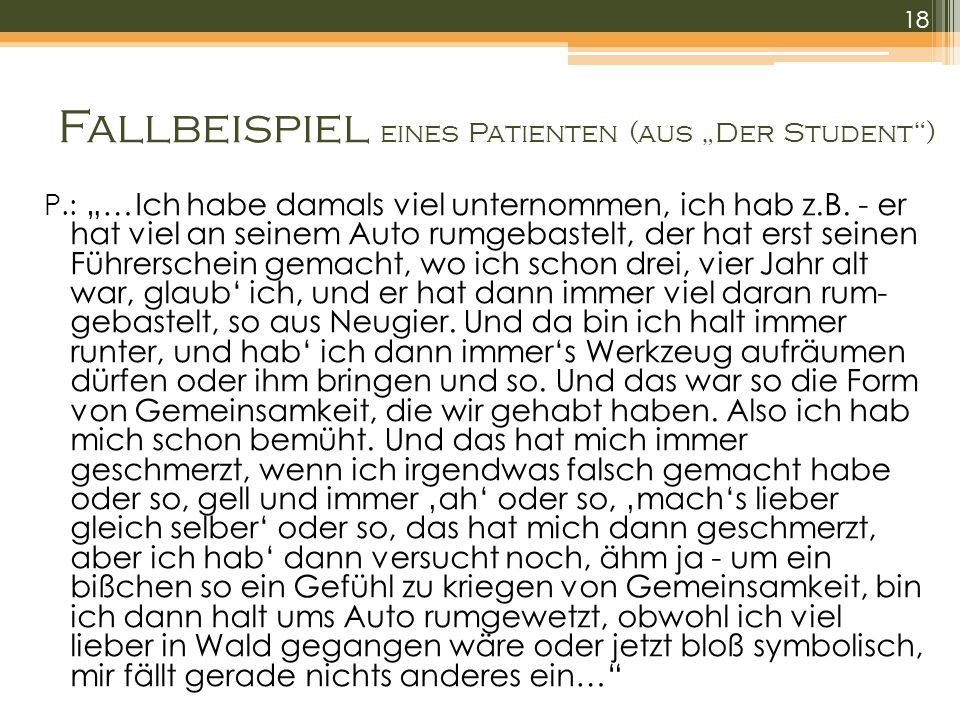 """Fallbeispiel eines Patienten (aus """"Der Student )"""