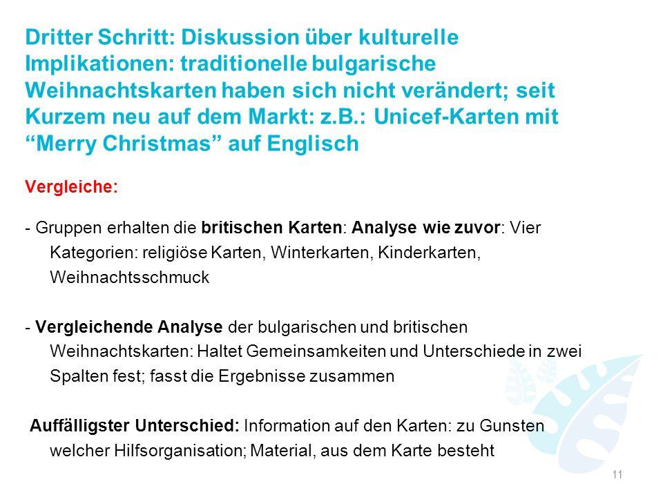 Dritter Schritt: Diskussion über kulturelle Implikationen: traditionelle bulgarische Weihnachtskarten haben sich nicht verändert; seit Kurzem neu auf dem Markt: z.B.: Unicef-Karten mit Merry Christmas auf Englisch
