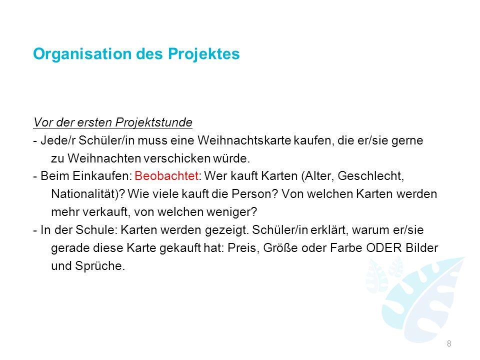 Organisation des Projektes