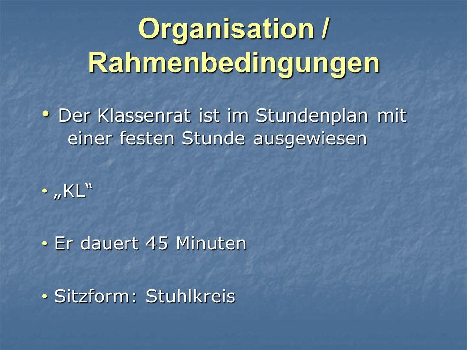 Organisation / Rahmenbedingungen