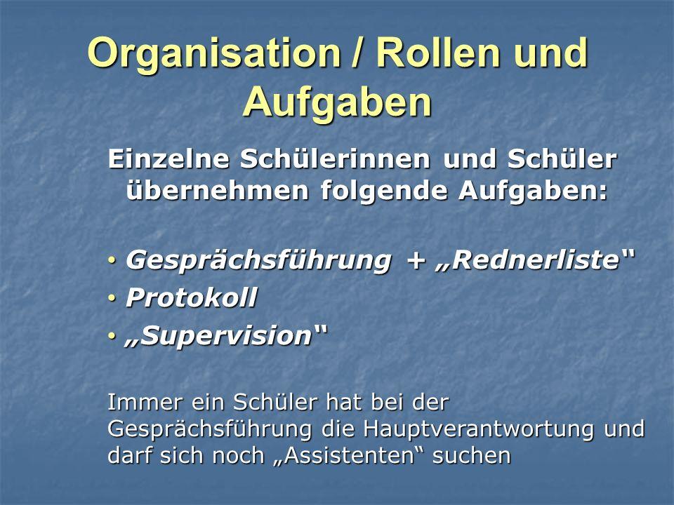 Organisation / Rollen und Aufgaben