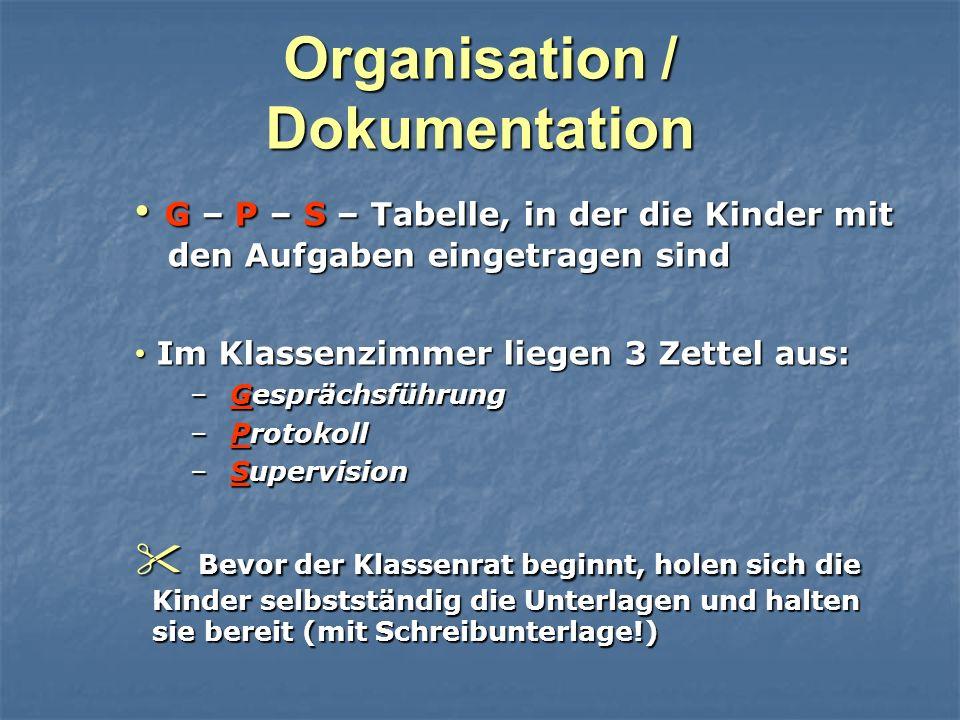 Organisation / Dokumentation