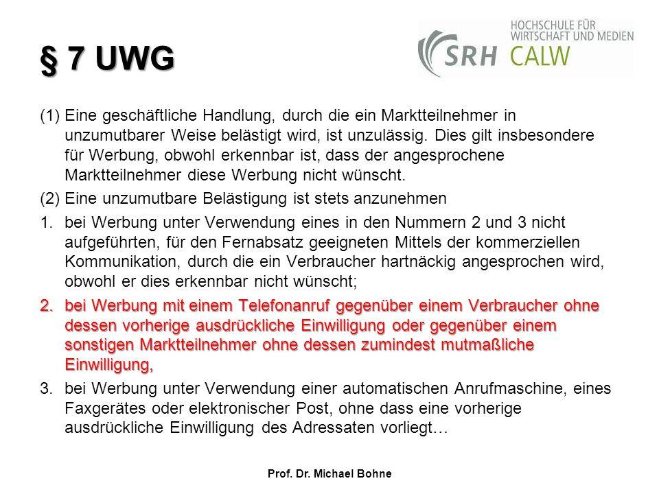 § 7 UWG